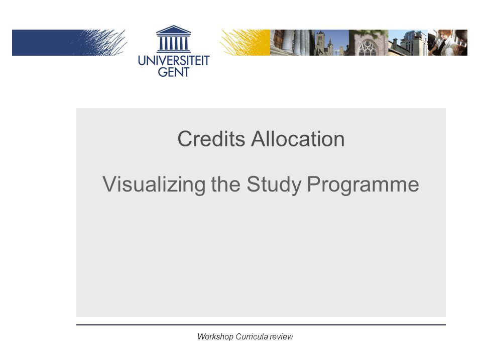 Workshop Curricula review Credits Allocation Visualizing the Study Programme