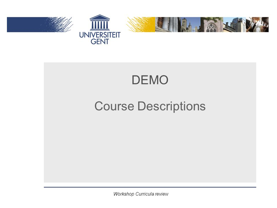 Workshop Curricula review DEMO Course Descriptions