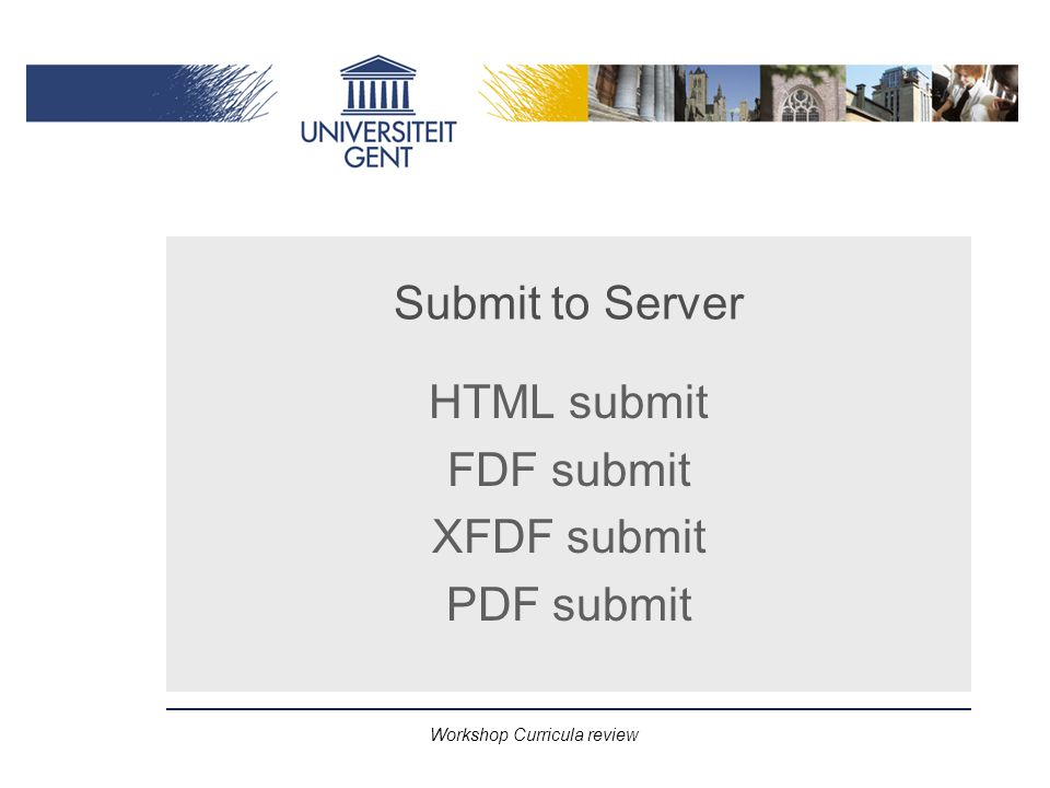 Workshop Curricula review Submit to Server HTML submit FDF submit XFDF submit PDF submit