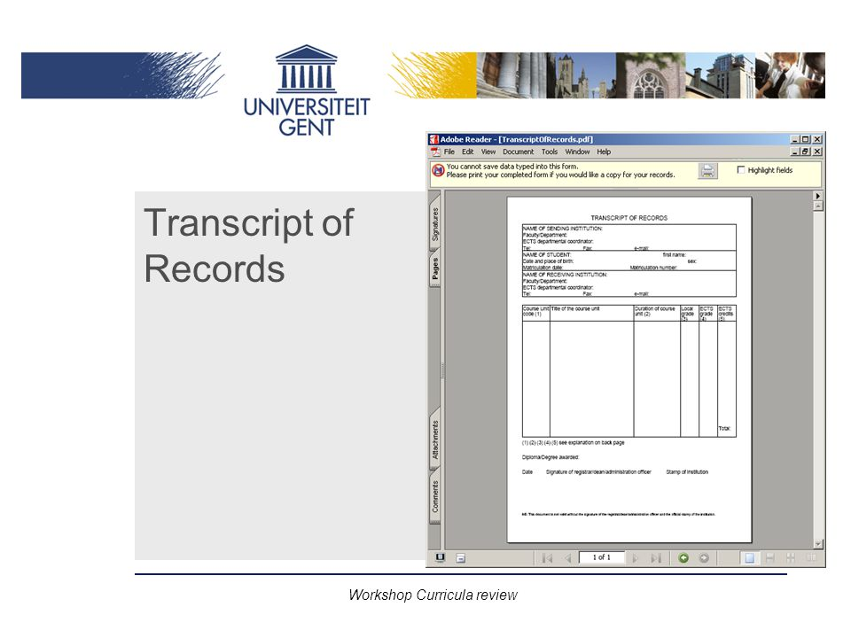 Workshop Curricula review Transcript of Records