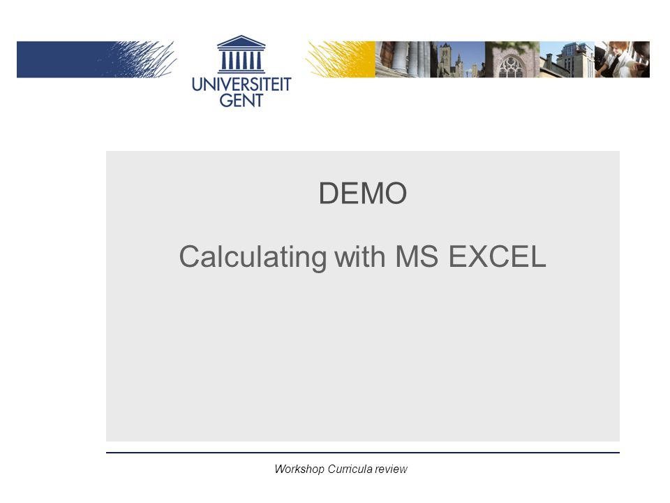 Workshop Curricula review DEMO Calculating with MS EXCEL