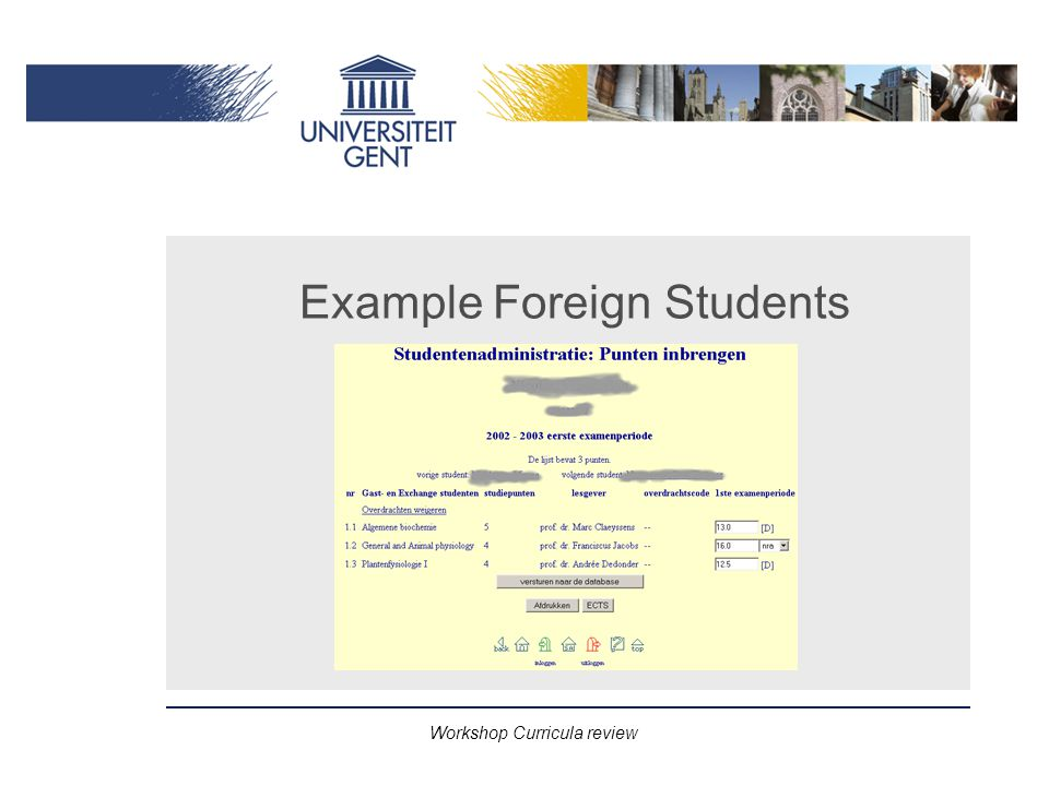 Workshop Curricula review Example Foreign Students