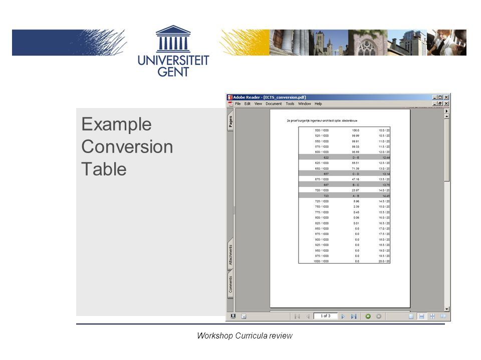 Workshop Curricula review Example Conversion Table