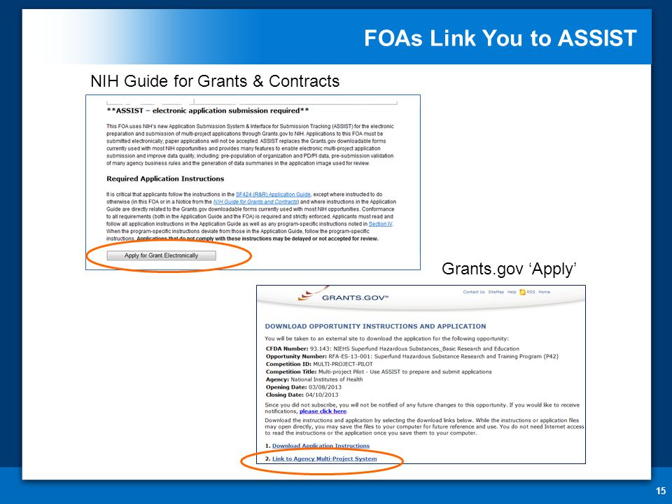 FOAs Link You to ASSIST 15 NIH Guide for Grants & Contracts Grants.gov 'Apply'