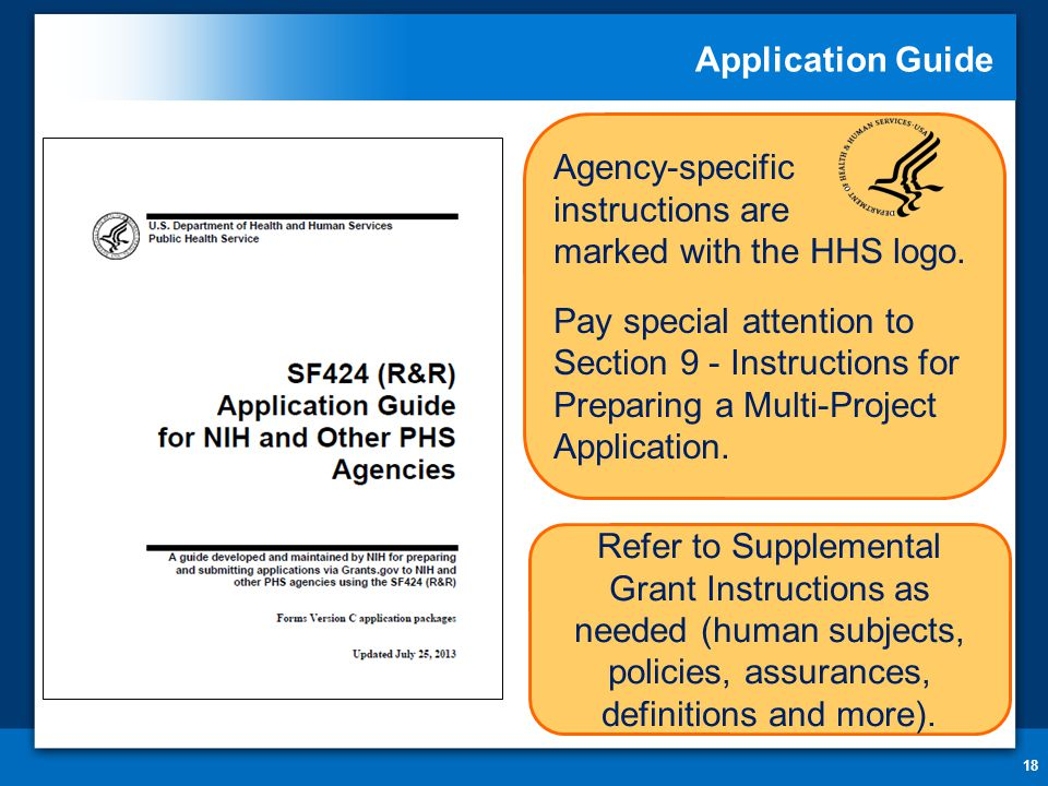 Application Guide 18 Agency-specific instructions are marked with the HHS logo. Pay special attention to Section 9 - Instructions for Preparing a Mult
