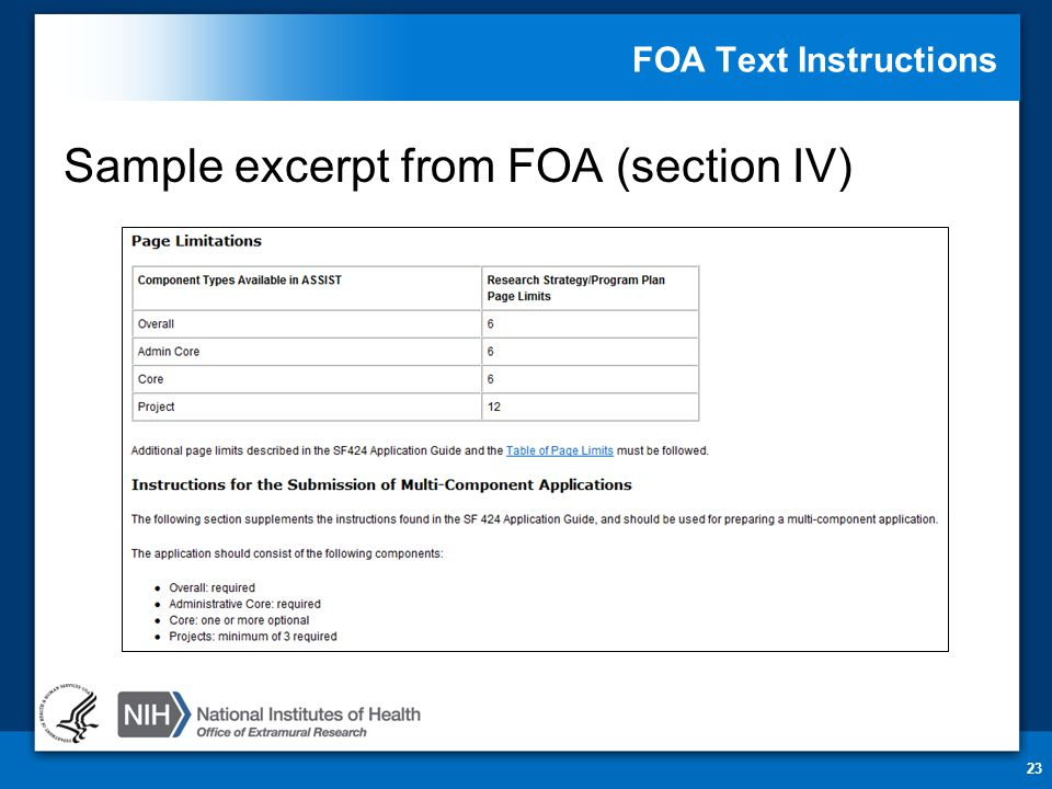 FOA Text Instructions Sample excerpt from FOA (section IV) 23
