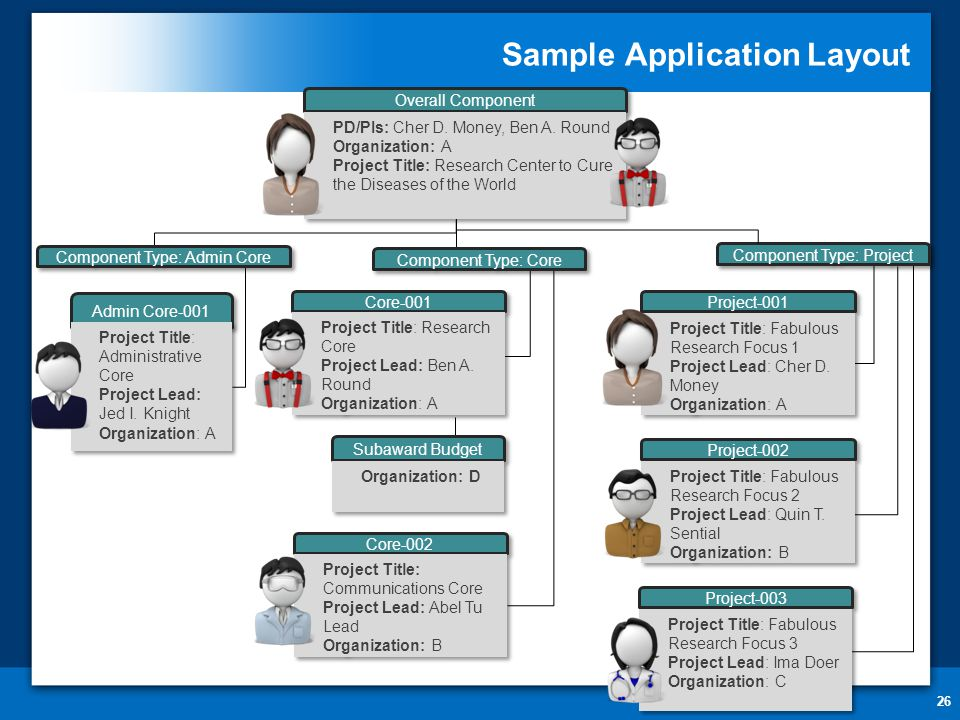 Sample Application Layout 26 Core-001 Project Title: Research Core Project Lead: Ben A.