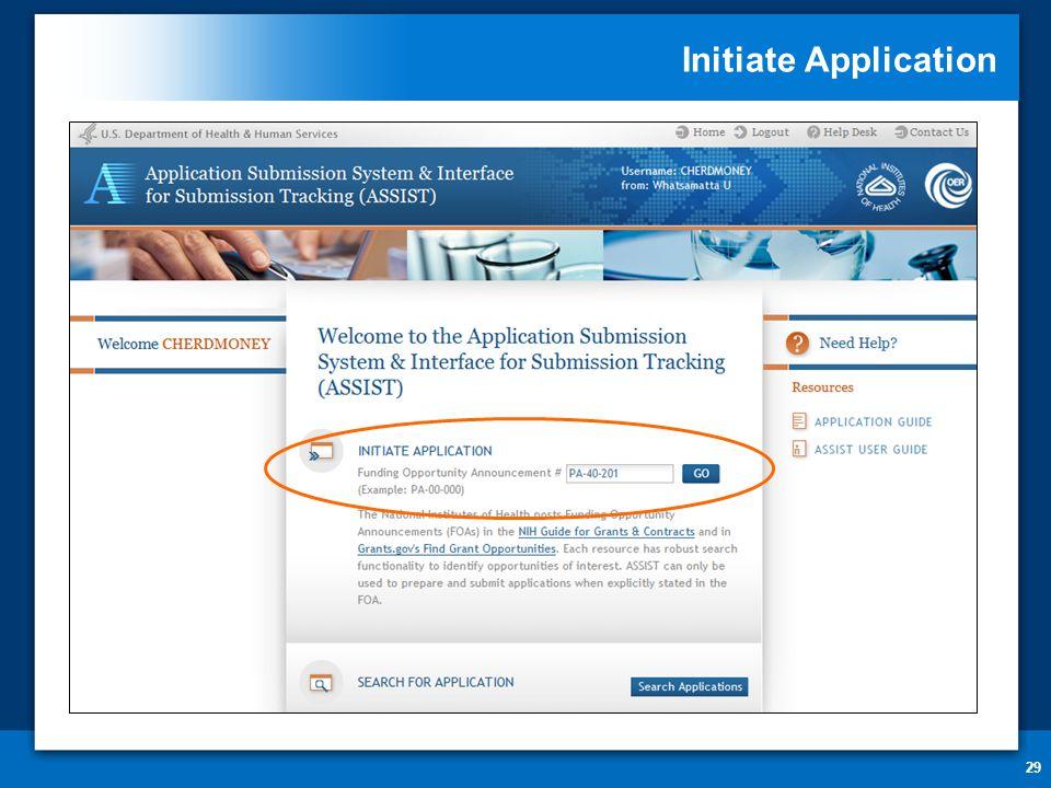 Initiate Application 29