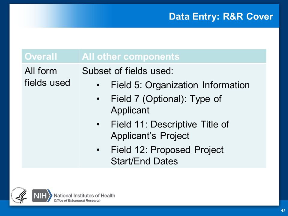 Data Entry: R&R Cover 47 OverallAll other components All form fields used Subset of fields used: Field 5: Organization Information Field 7 (Optional):
