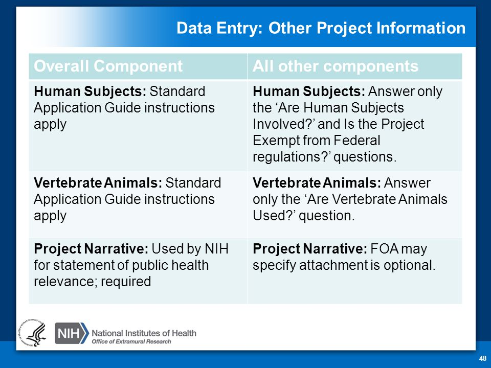 Data Entry: Other Project Information 48 Overall ComponentAll other components Human Subjects: Standard Application Guide instructions apply Human Subjects: Answer only the 'Are Human Subjects Involved ' and Is the Project Exempt from Federal regulations ' questions.