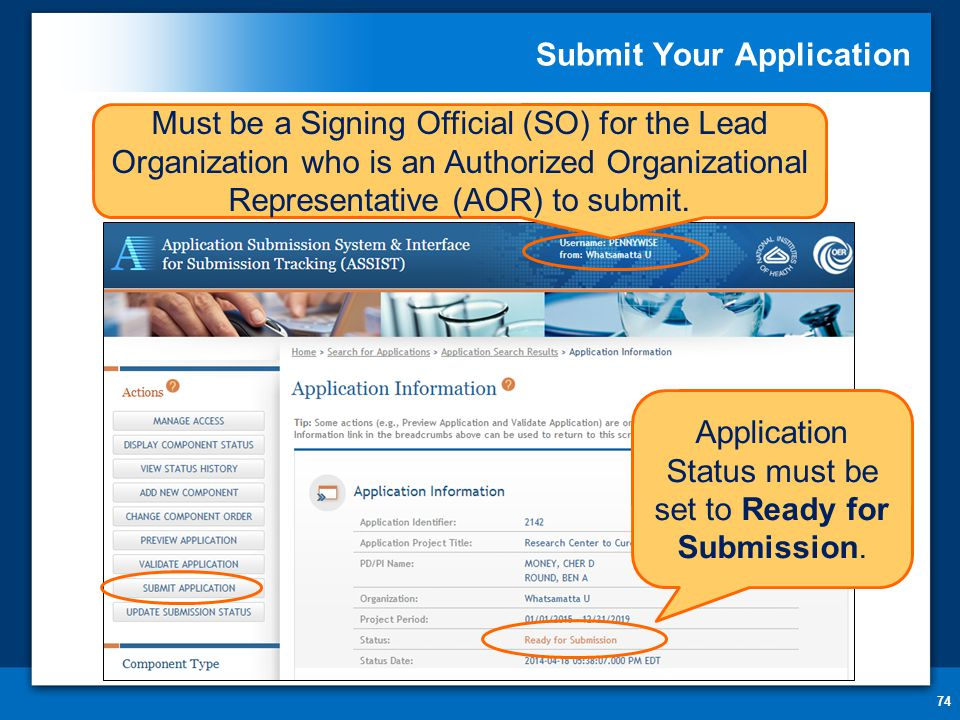 Submit Your Application 74 Application Status must be set to Ready for Submission.