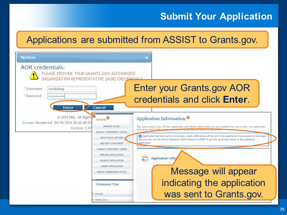 Submit Your Application 75 Message will appear indicating the application was sent to Grants.gov.