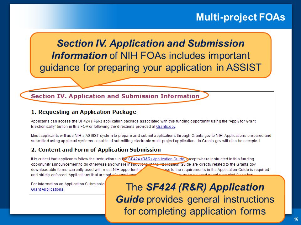 Multi-project FOAs 16 Section IV.
