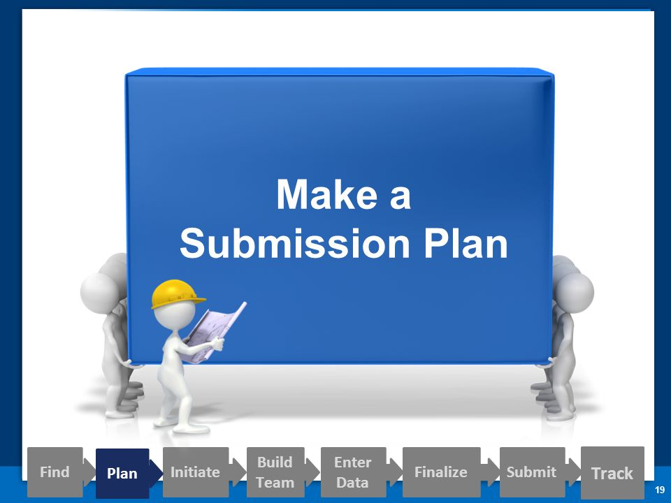 19 Make a Submission Plan Track Find Initiate Build Team Enter Data FinalizeSubmit Plan