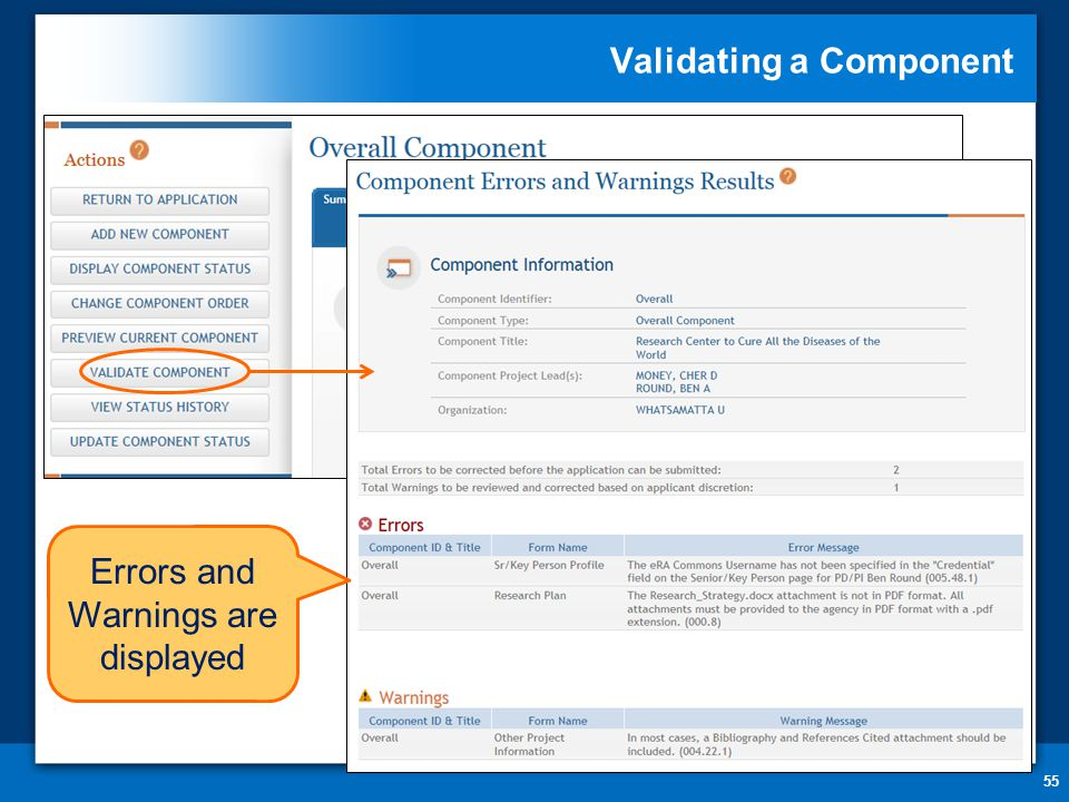 Validating a Component 55 Errors and Warnings are displayed