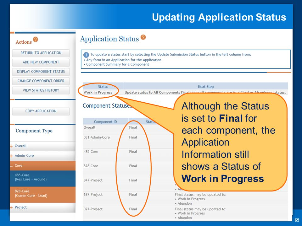 Updating Application Status 65 Although the Status is set to Final for each component, the Application Information still shows a Status of Work in Progress