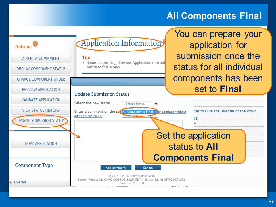 All Components Final 67 You can prepare your application for submission once the status for all individual components has been set to Final Set the application status to All Components Final