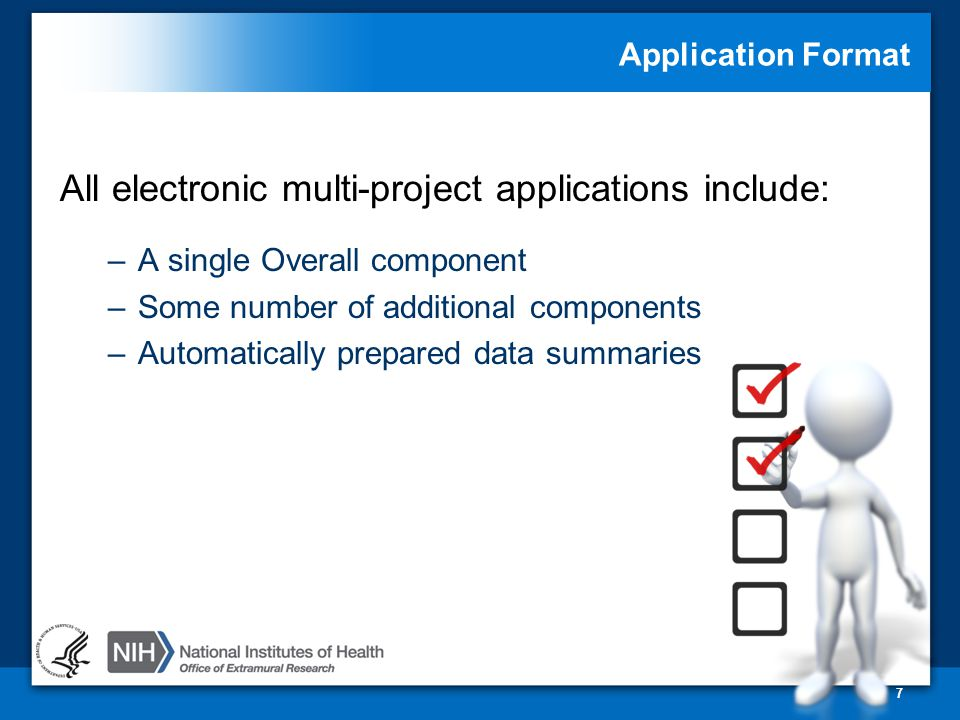 Application Format All electronic multi-project applications include: –A single Overall component –Some number of additional components –Automatically prepared data summaries 7
