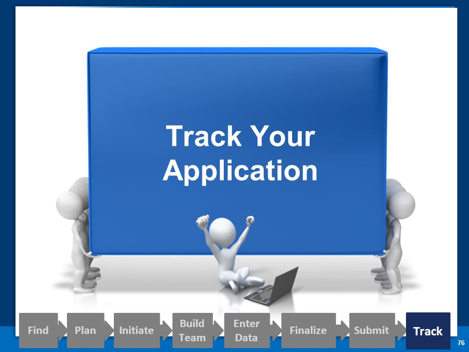 76 Track Your Application Find PlanInitiate Build Team Enter Data FinalizeSubmit Track