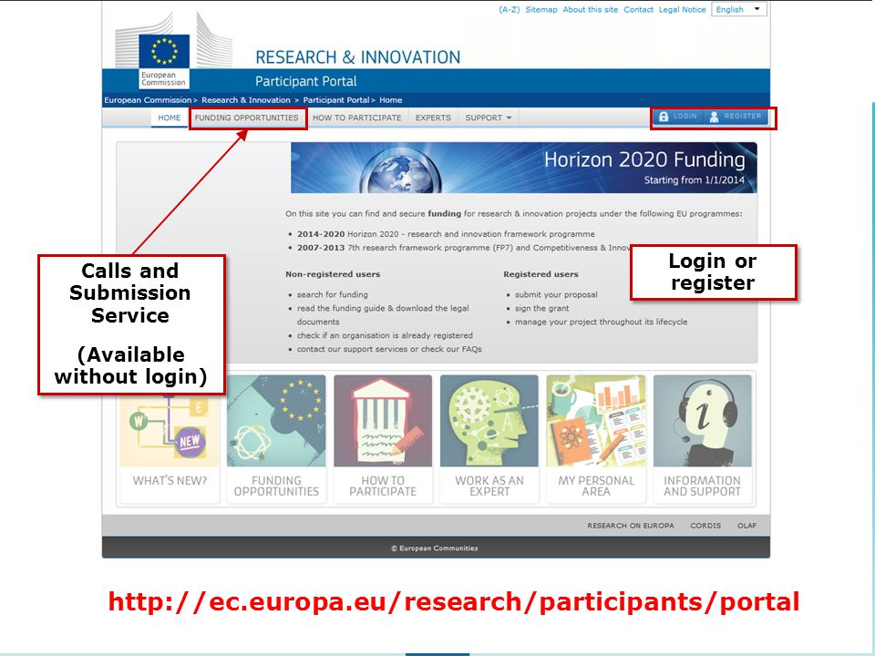 Calls and Submission Service (Available without login) Calls and Submission Service (Available without login) Login or register http://ec.europa.eu/research/participants/portal