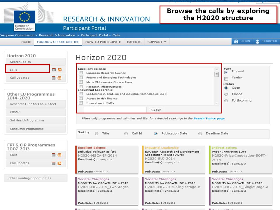Research and Innovation 8 Browse the calls by exploring the H2020 structure