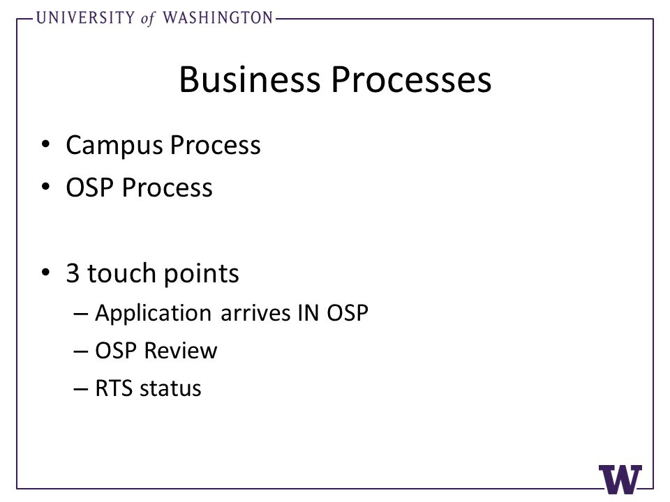 Business Processes Campus Process OSP Process 3 touch points – Application arrives IN OSP – OSP Review – RTS status