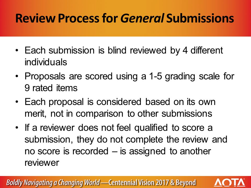 Review Process for General Submissions Each submission is blind reviewed by 4 different individuals Proposals are scored using a 1-5 grading scale for 9 rated items Each proposal is considered based on its own merit, not in comparison to other submissions If a reviewer does not feel qualified to score a submission, they do not complete the review and no score is recorded – is assigned to another reviewer