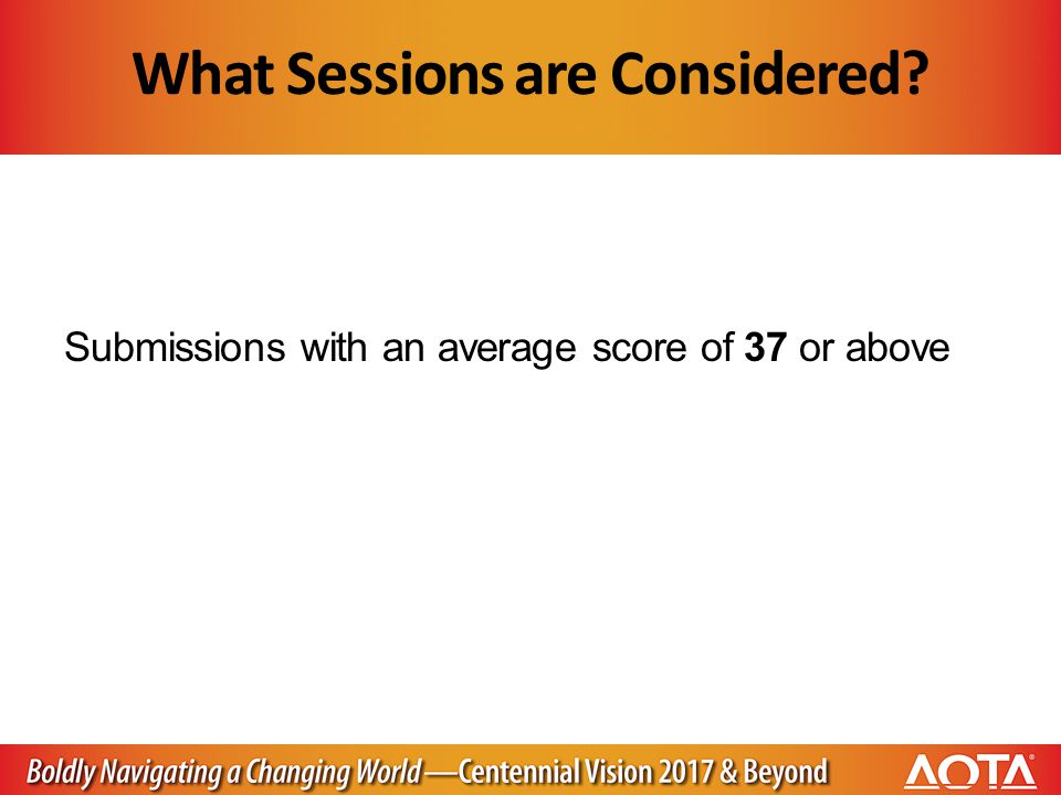 What Sessions are Considered Submissions with an average score of 37 or above