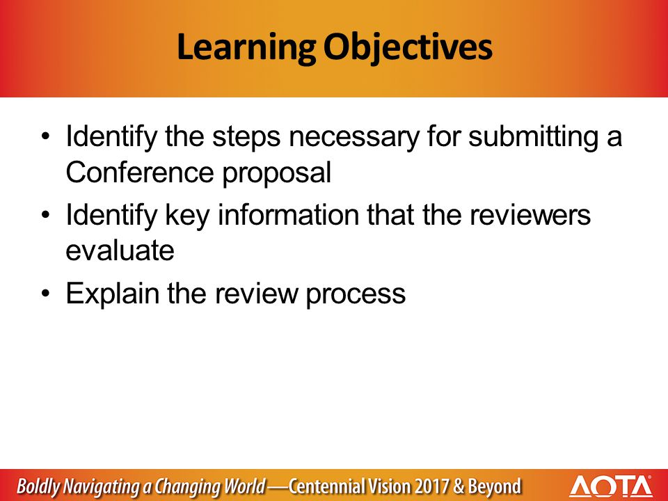 Learning Objectives Identify the steps necessary for submitting a Conference proposal Identify key information that the reviewers evaluate Explain the review process