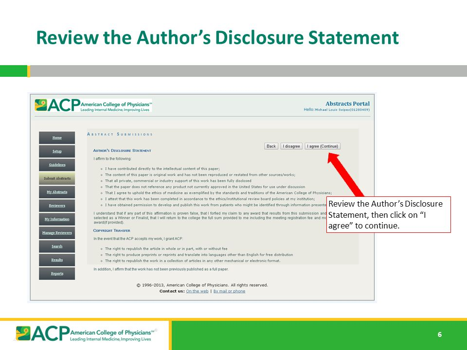 7 Review the Author's Demographics Review the Author's Demographics, make any changes or corrections and then click Continue.