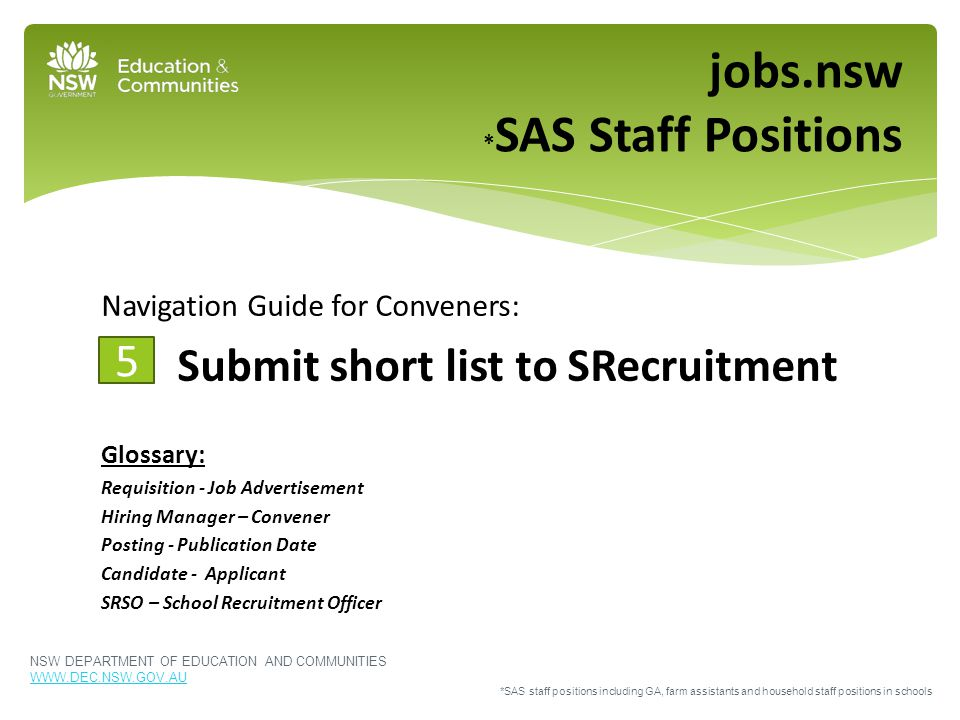 Navigation Guide for Conveners: Submit short list to SRecruitment Glossary: Requisition - Job Advertisement Hiring Manager – Convener Posting - Public