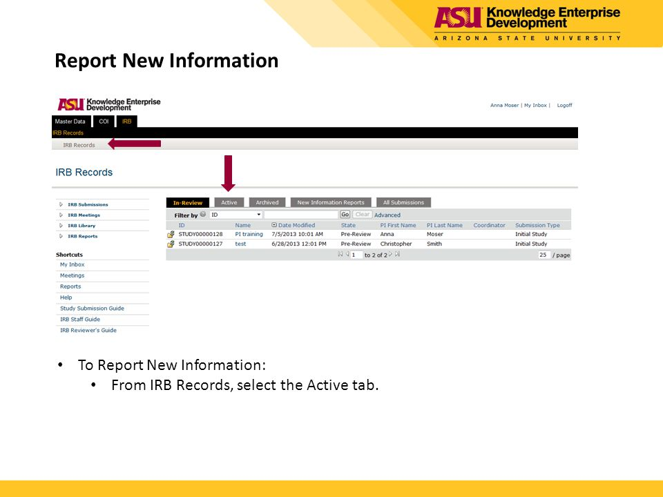 Report New Information To Report New Information: From IRB Records, select the Active tab.