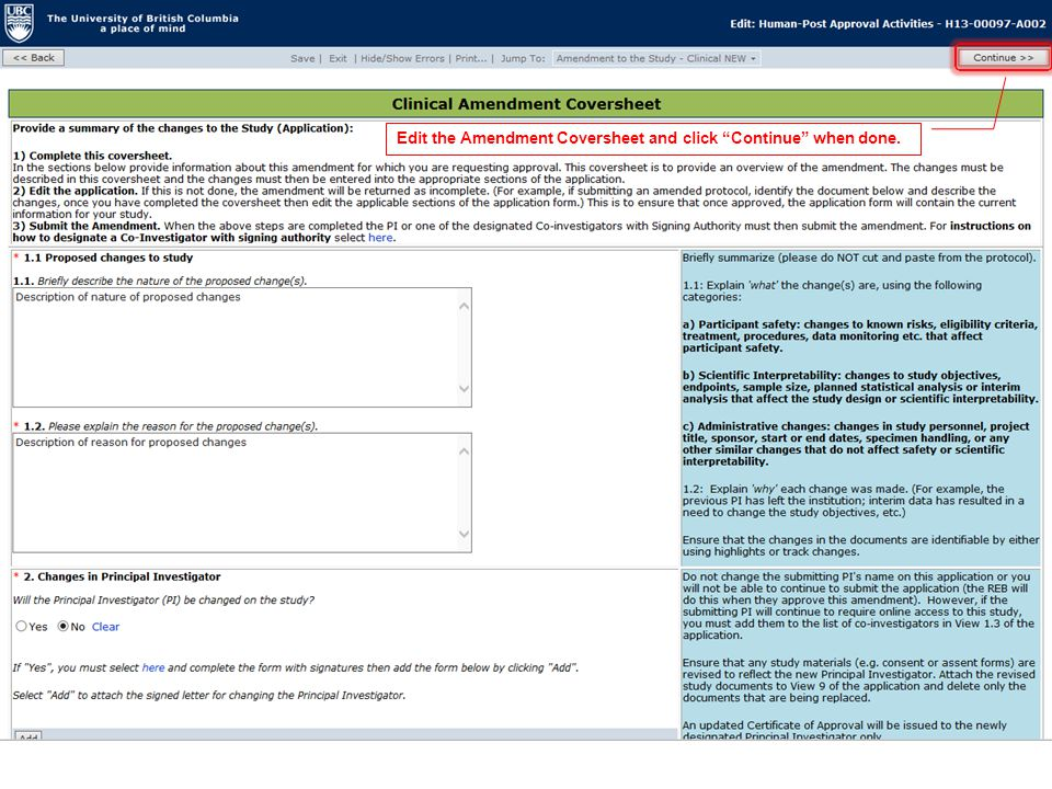 Edit the Amendment Coversheet and click Continue when done.