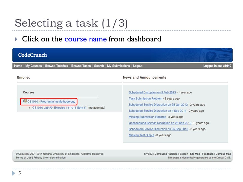 Selecting a task (1/3) 3  Click on the course name from dashboard
