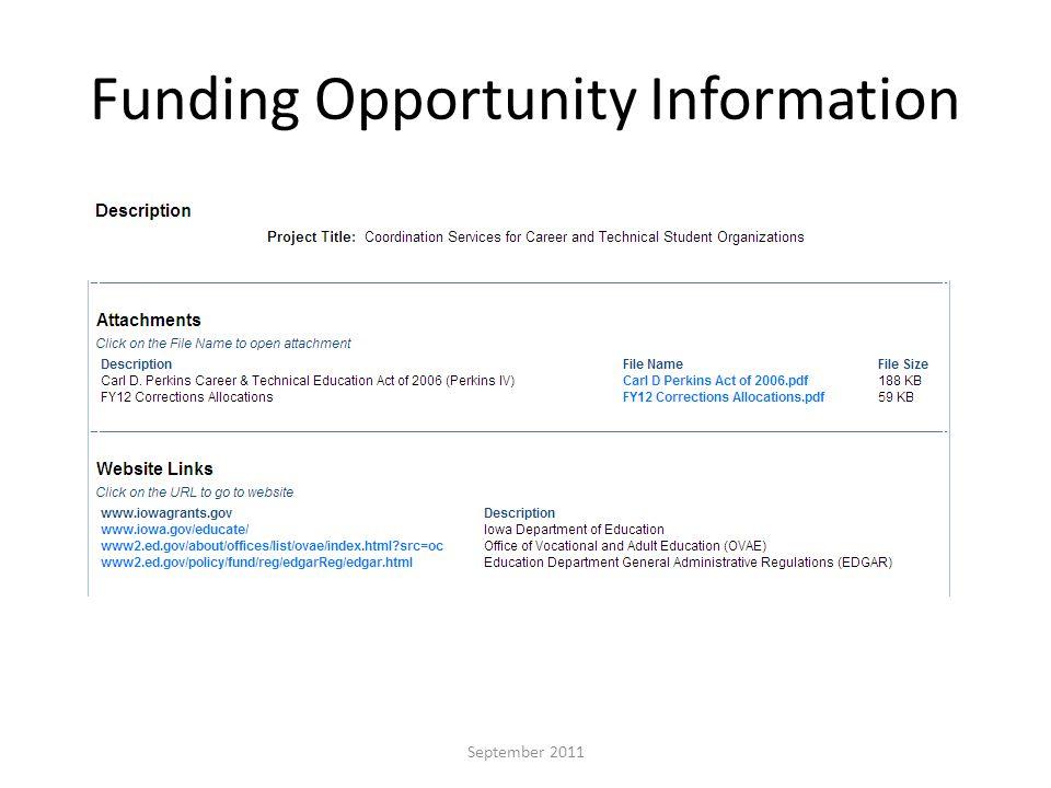 Funding Opportunity Information September 2011