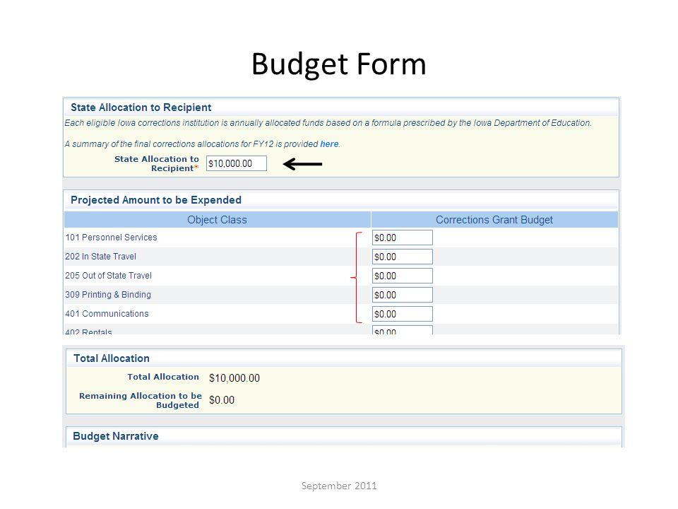 Budget Form September 2011