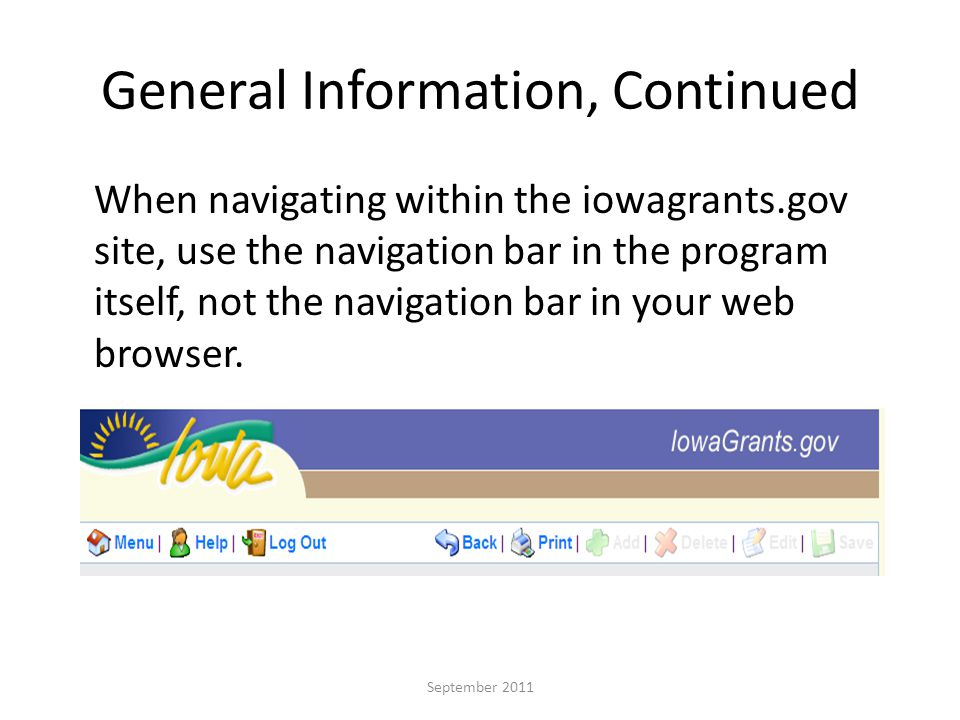 Step 9: Once information has been entered in a form, select Save September 2011