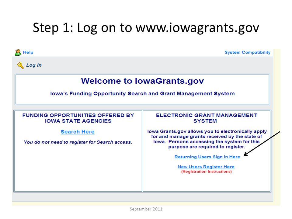 Step 2: Enter user name and password September 2011