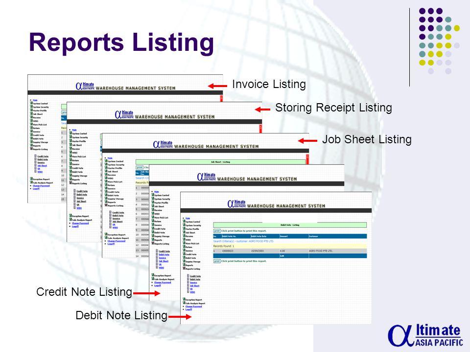 Monthly Stock Movement Report Job Transportation Report Stock Balance Report GST Credit Report GST Debit Report Reports