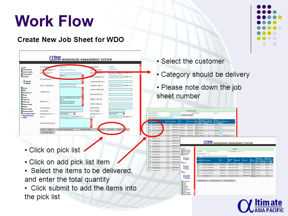 Work Flow Create New SR Click on add item Select the items and click on receive Enter the dimensions of the carton and click submit