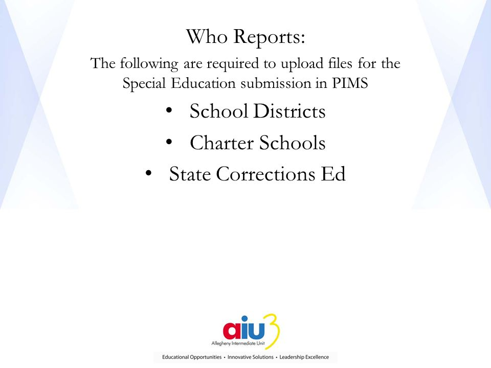 Who Reports: The following are required to upload files for the Special Education submission in PIMS School Districts Charter Schools State Corrections Ed