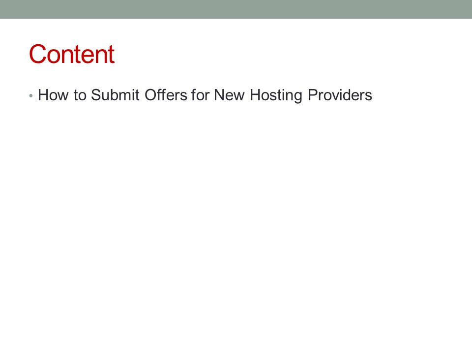 Content How to Submit Offers for New Hosting Providers