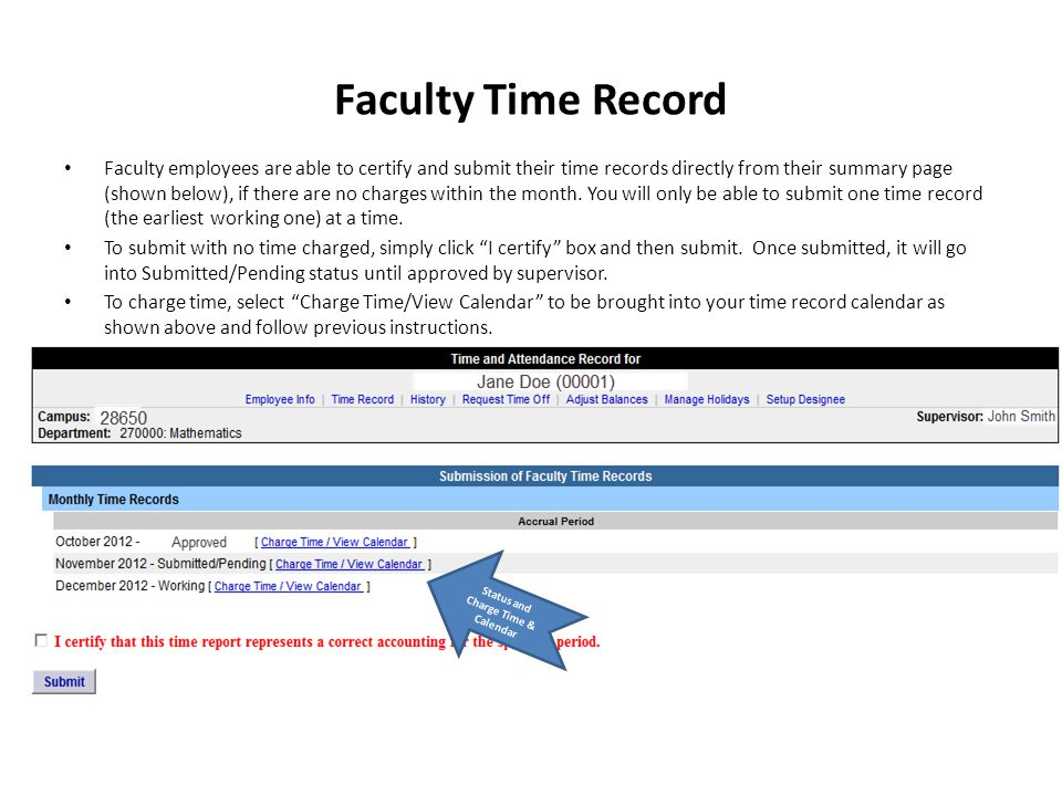 Faculty Time Record Faculty employees are able to certify and submit their time records directly from their summary page (shown below), if there are no charges within the month.