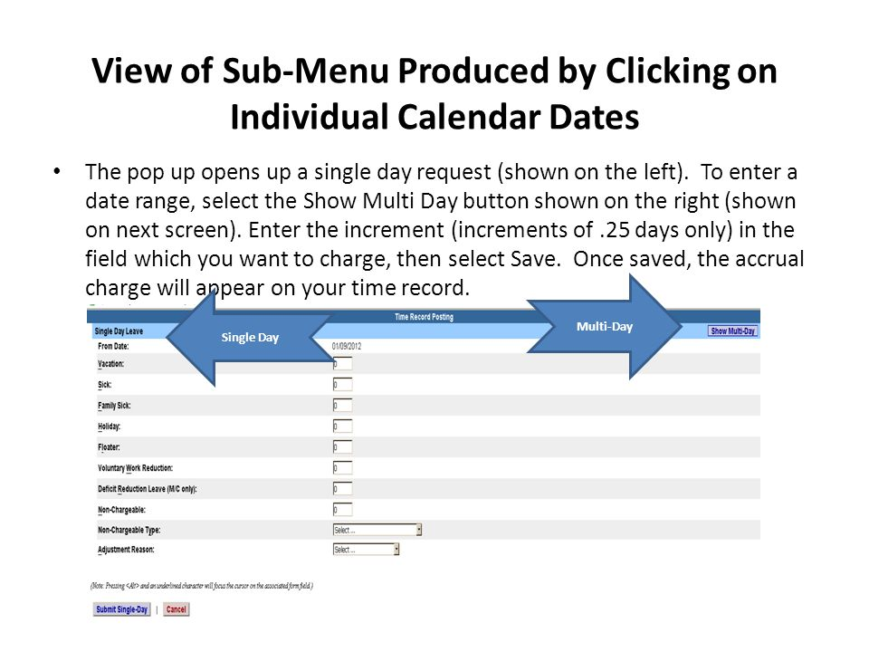 View of Sub-Menu Produced by Clicking on Individual Calendar Dates The pop up opens up a single day request (shown on the left).