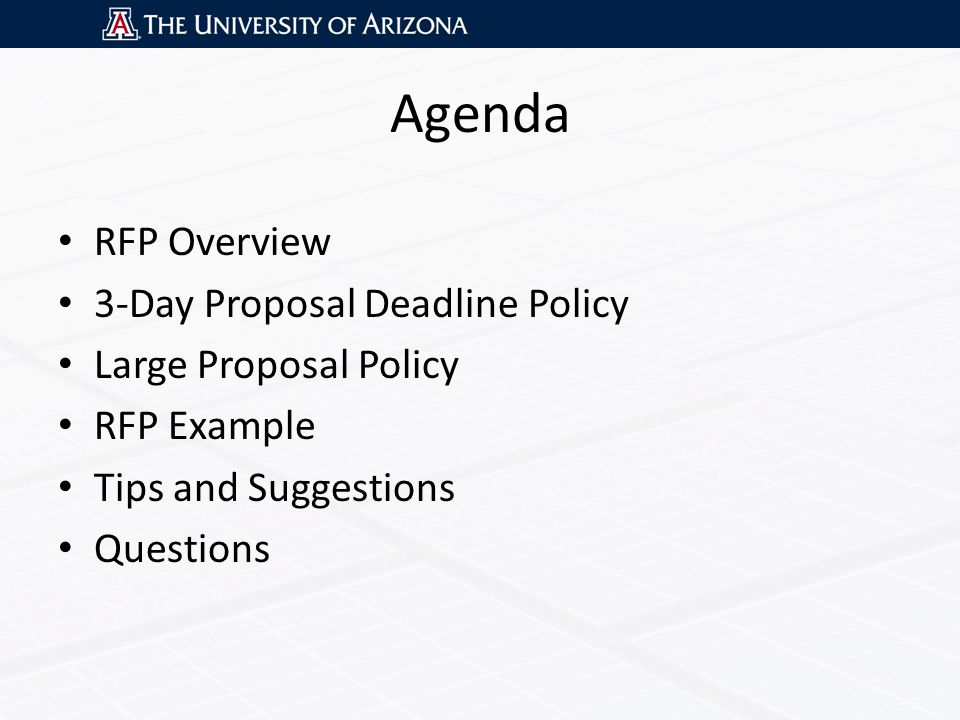 Agenda RFP Overview 3-Day Proposal Deadline Policy Large Proposal Policy RFP Example Tips and Suggestions Questions