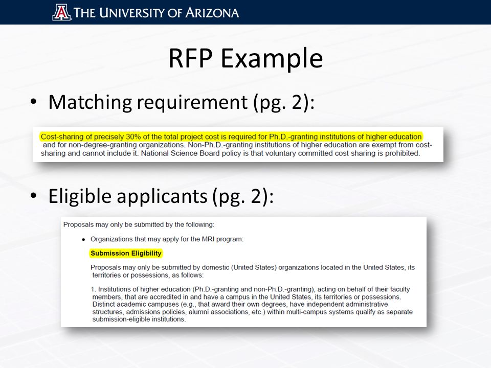 RFP Example Matching requirement (pg. 2): Eligible applicants (pg. 2):