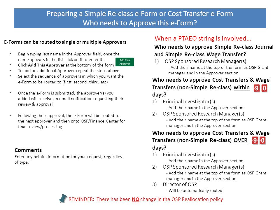 Preparing a Simple Re-class e-Form or Cost Transfer e-Form Who needs to Approve this e-Form? Who needs to approve Simple Re-class Journal and Simple R