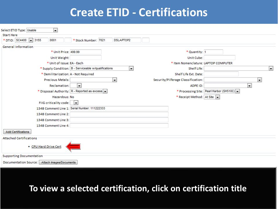 To view a selected certification, click on certification title Create ETID - Certifications