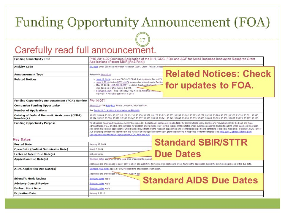 17 Standard SBIR/STTR Due Dates Standard AIDS Due Dates Carefully read full announcement.