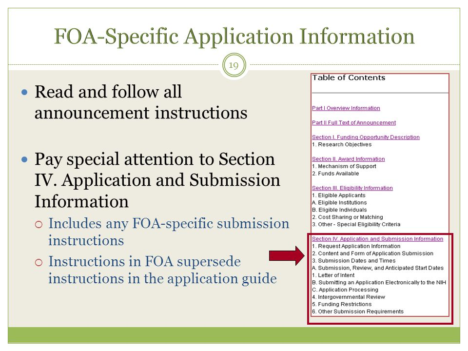 Read and follow all announcement instructions Pay special attention to Section IV.